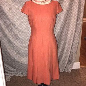Talbots Wool Burnt Orange Color Dress w cap sleeve